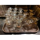 TRAY OF ASSORTED GLASSES INCLUDING: BRANDY GLASSES