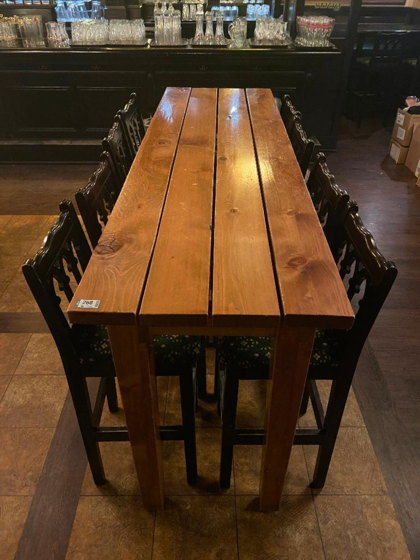7' WOOD BAR HEIGHT TABLE WITH 8 BAR HEIGHT CHAIRS - Image 3 of 3