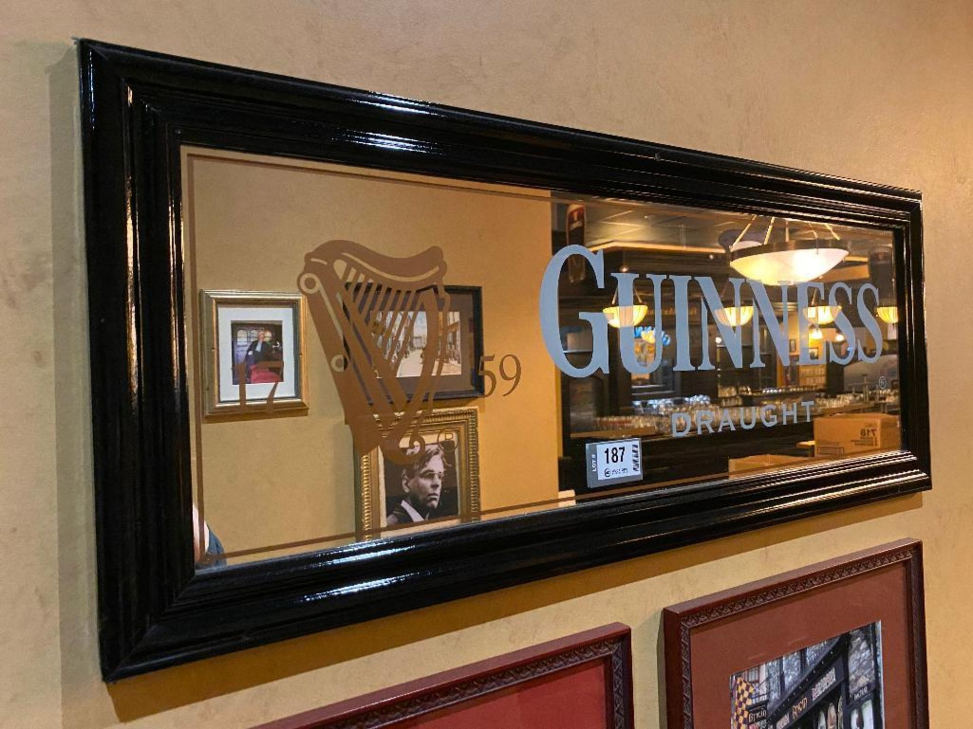 LOT OF (3) FRAMED MEMORABILIA PHOTOS & (1) GUINNESS MIRROR - NOTE: REQUIRES REMOVAL FROM WALL, PLEAS - Image 3 of 5