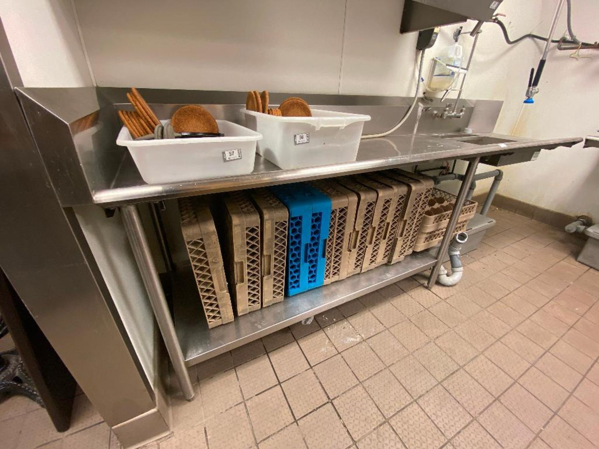 """105"""" STAINLESS STEEL DRAINBOARD/ SINK WITH PRE-RINSE & GREASE TRAP - NOTE: REQUIRES DISCONNECT, PLEA - Image 3 of 4"""