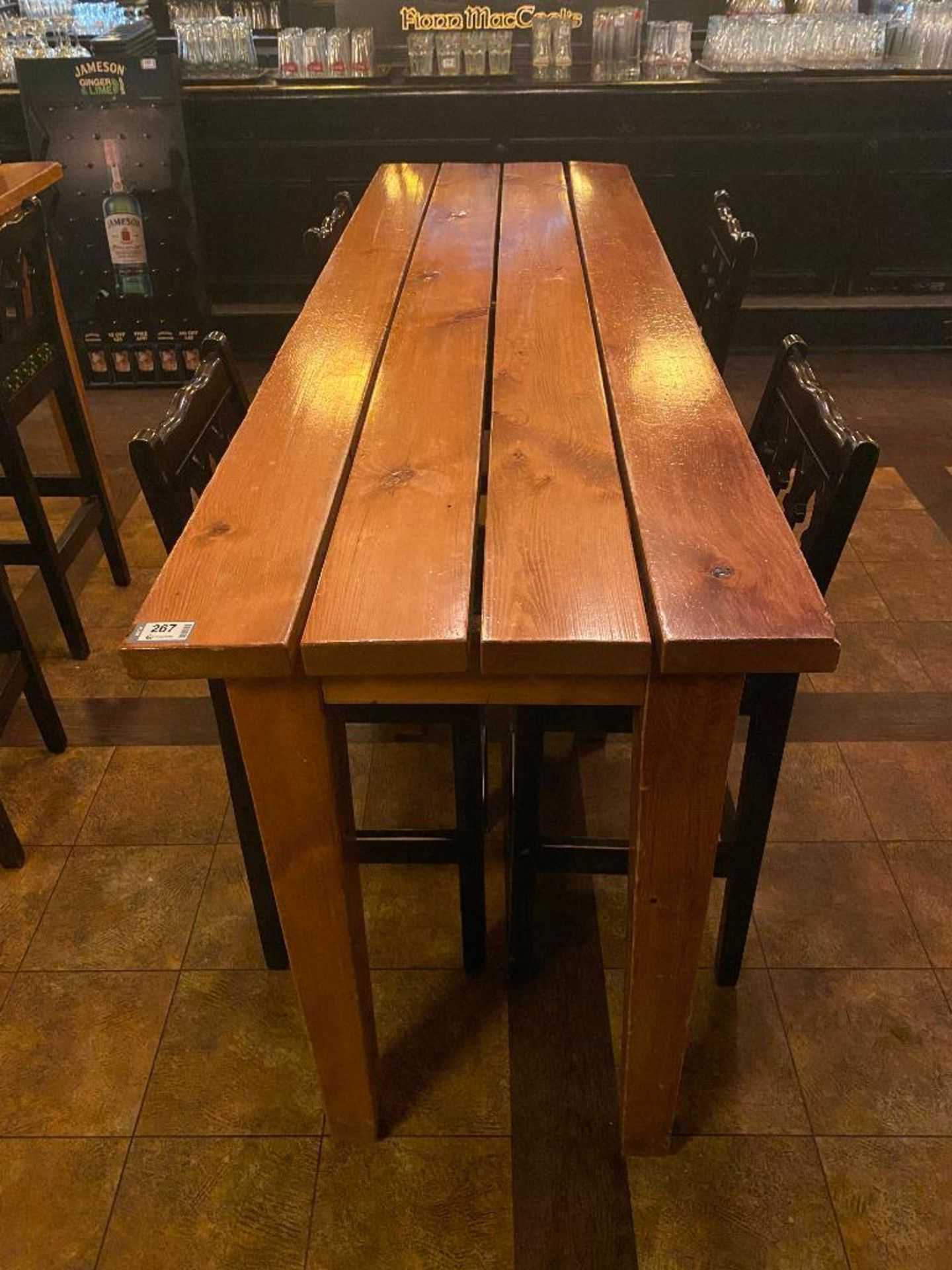7' WOOD BAR HEIGHT TABLE WITH 4 BAR HEIGHT CHAIRS - Image 3 of 3