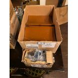 BOX OF LEATHER BRANDED MENU COVERS & BOX OF KRONENBOURG BRANDED BOTTLE OPENERS