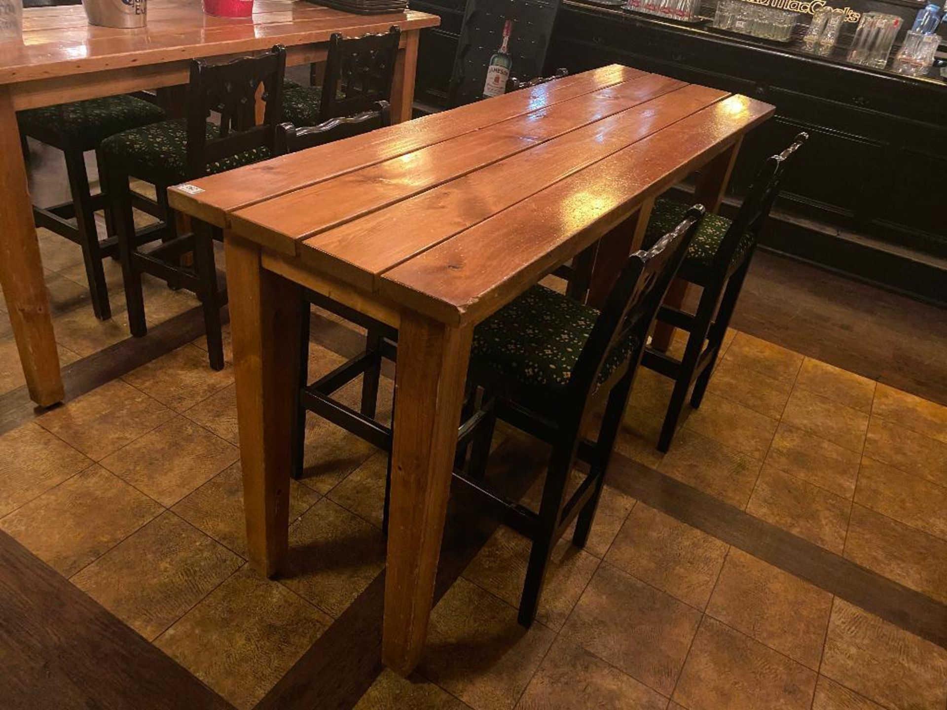 7' WOOD BAR HEIGHT TABLE WITH 4 BAR HEIGHT CHAIRS