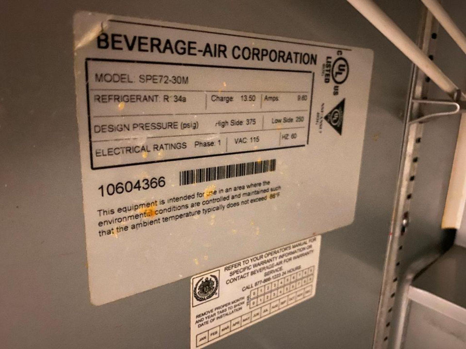 6' BEVERAGE AIR SPE72-30M TRIPLE DOOR SANDWICH PREP TABLE - Image 6 of 6