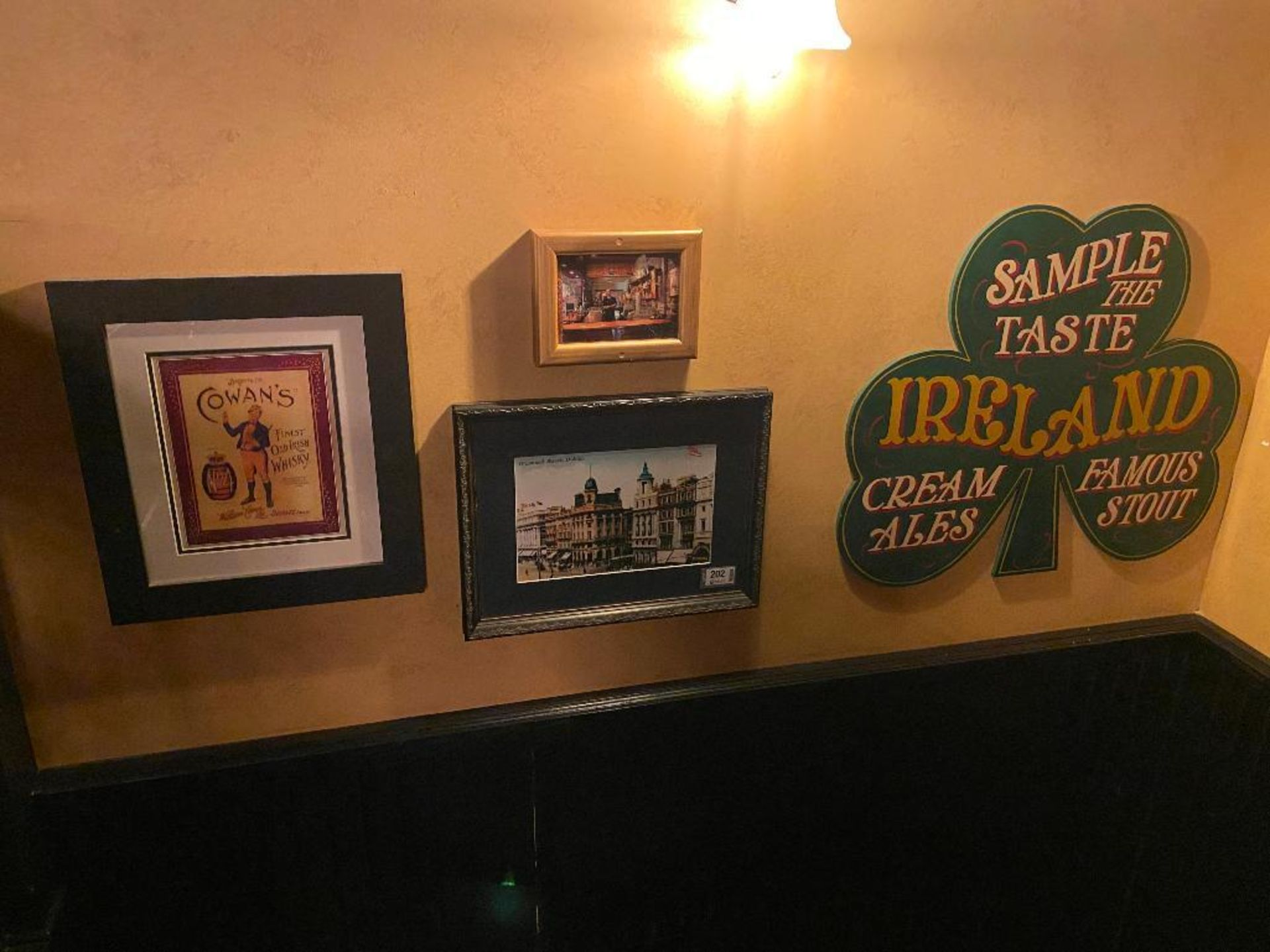 LOT OF (3) FRAMED MEMORABILIA PHOTOS & (1) SAMPLE THE TASTE IRELAND PLAQUE - NOTE: REQUIRES REMOVAL
