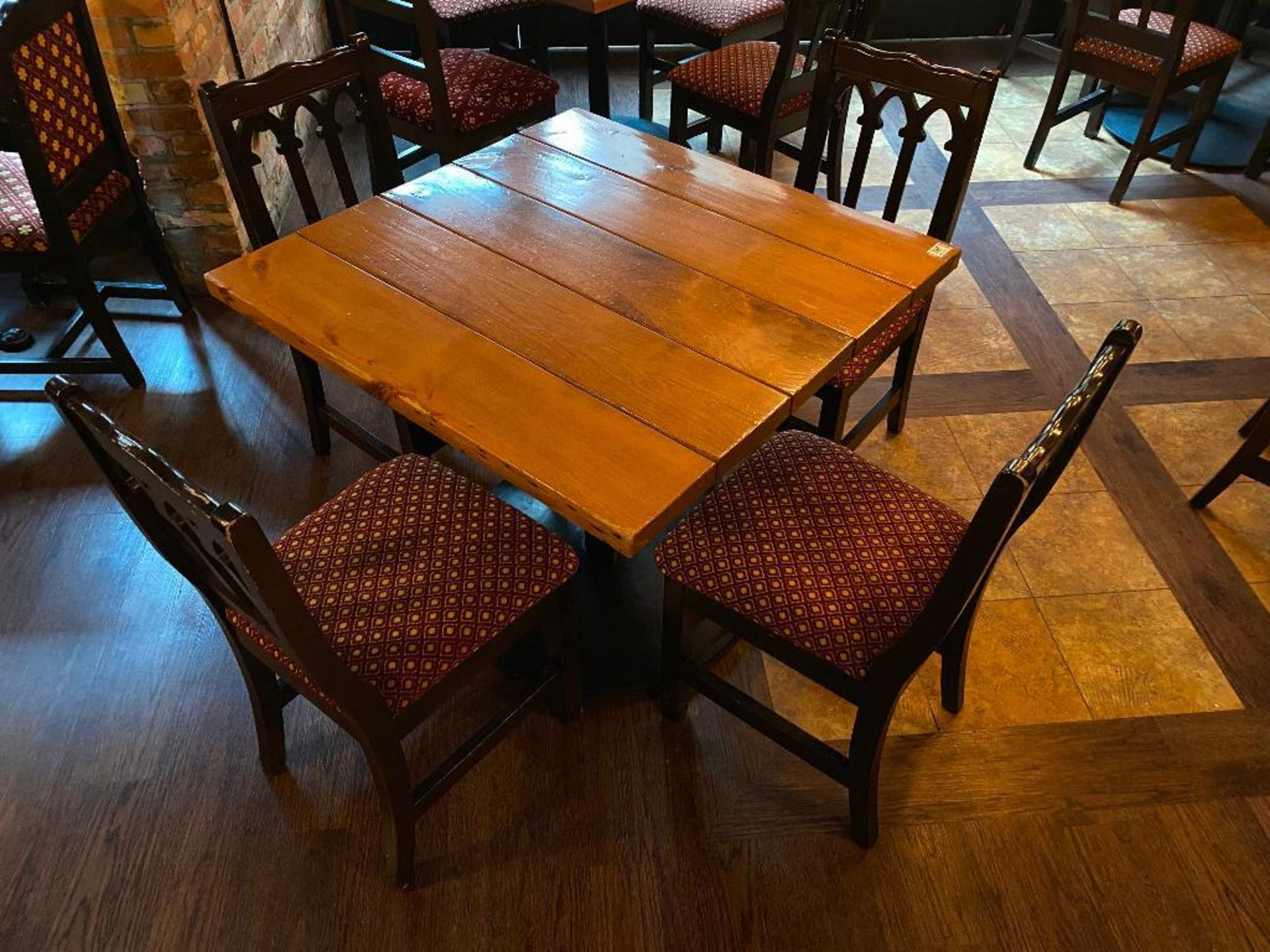 """36"""" X 36"""" SQUARE WOOD TOP TABLE WITH 4 CHAIRS - Image 2 of 2"""