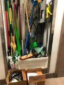 LOT OF ASSORTED CLEANING TOOLS & WALL MOUNTED SOAP DISPENSER- NOTE: REQUIRES REMOVAL FROM WALL, PLEA