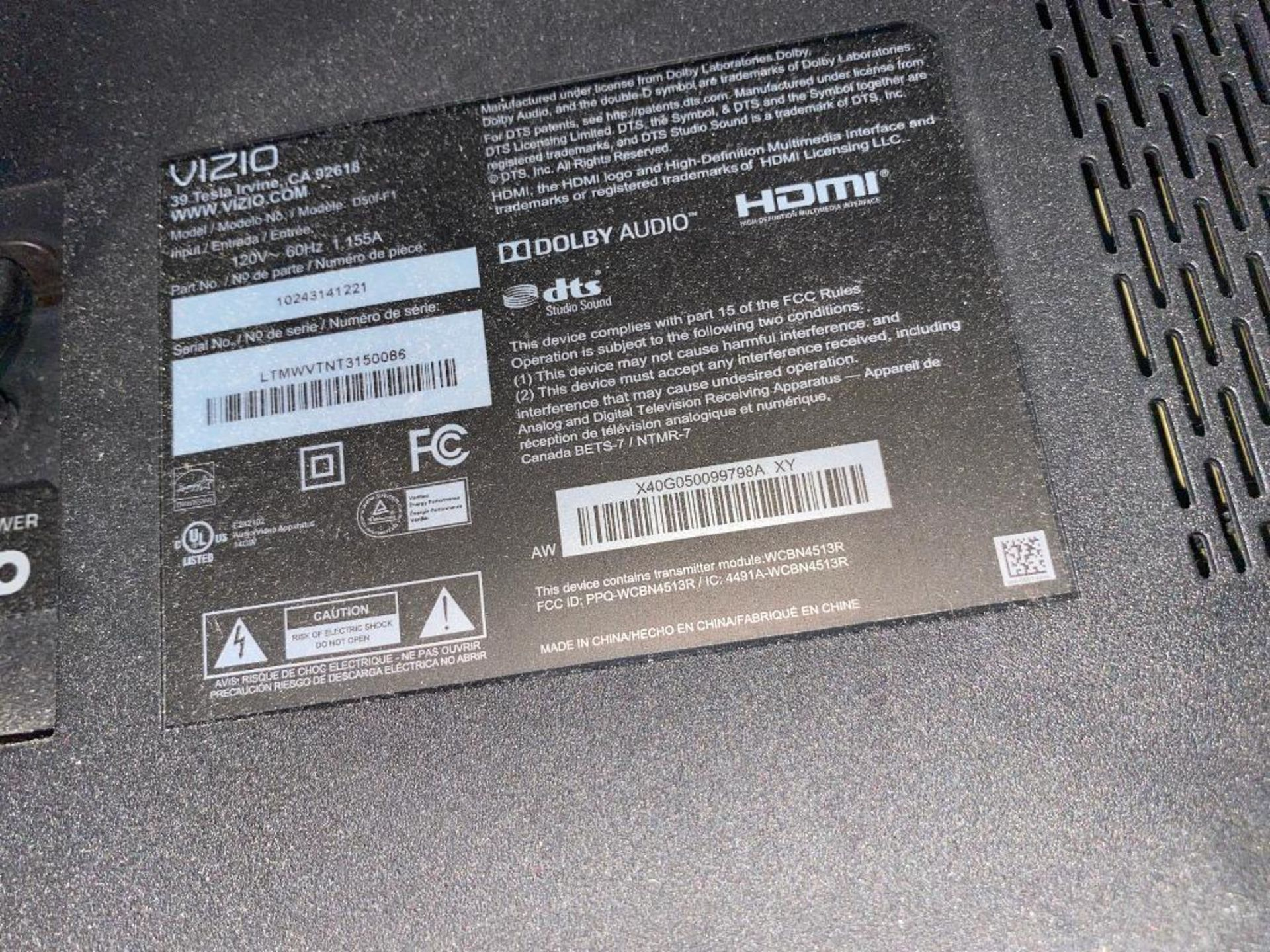 "VIZIO 50"" D50F-FI TV - NO REMOTE - NOTE: REQUIRES REMOVAL FROM MOUNT, PLEASE INSPECT - Image 3 of 3"