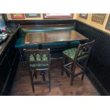 "RECTANGULAR BAR HEIGHT TABLE WITH 2 BAR HEIGHT CHAIRS & (1) 66"" GREEN BAR HEIGHT BENCH"