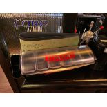 LOT OF ASSORTED BAR ITEMS INCLUDING: SMIRNOFF BAR CADDY, GLASS RIMMER & MORE
