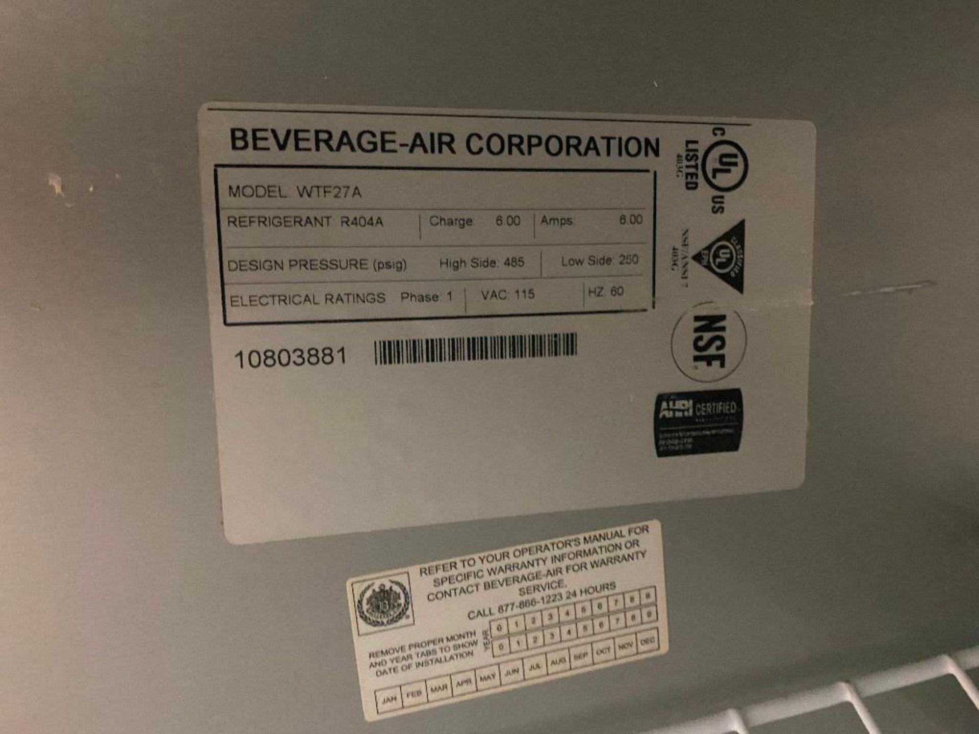 """27"""" BEVERAGE AIR WTF27A SINGLE DOOR WORKTOP FREEZER - Image 3 of 3"""