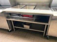 TRIMEN CUSTOM STAINLESS STEEL TABLE WITH 2 FULL SIZE FOOD WARMERS