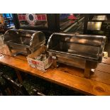 LOT OF (2) STAINLESS STEEL CHAFERS WITH FUEL