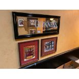 LOT OF (3) FRAMED MEMORABILIA PHOTOS & (1) GUINNESS MIRROR - NOTE: REQUIRES REMOVAL FROM WALL, PLEAS