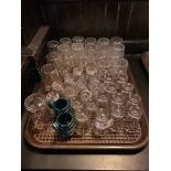 TRAY OF ASSORTED SHOT AND TASTING GLASSES