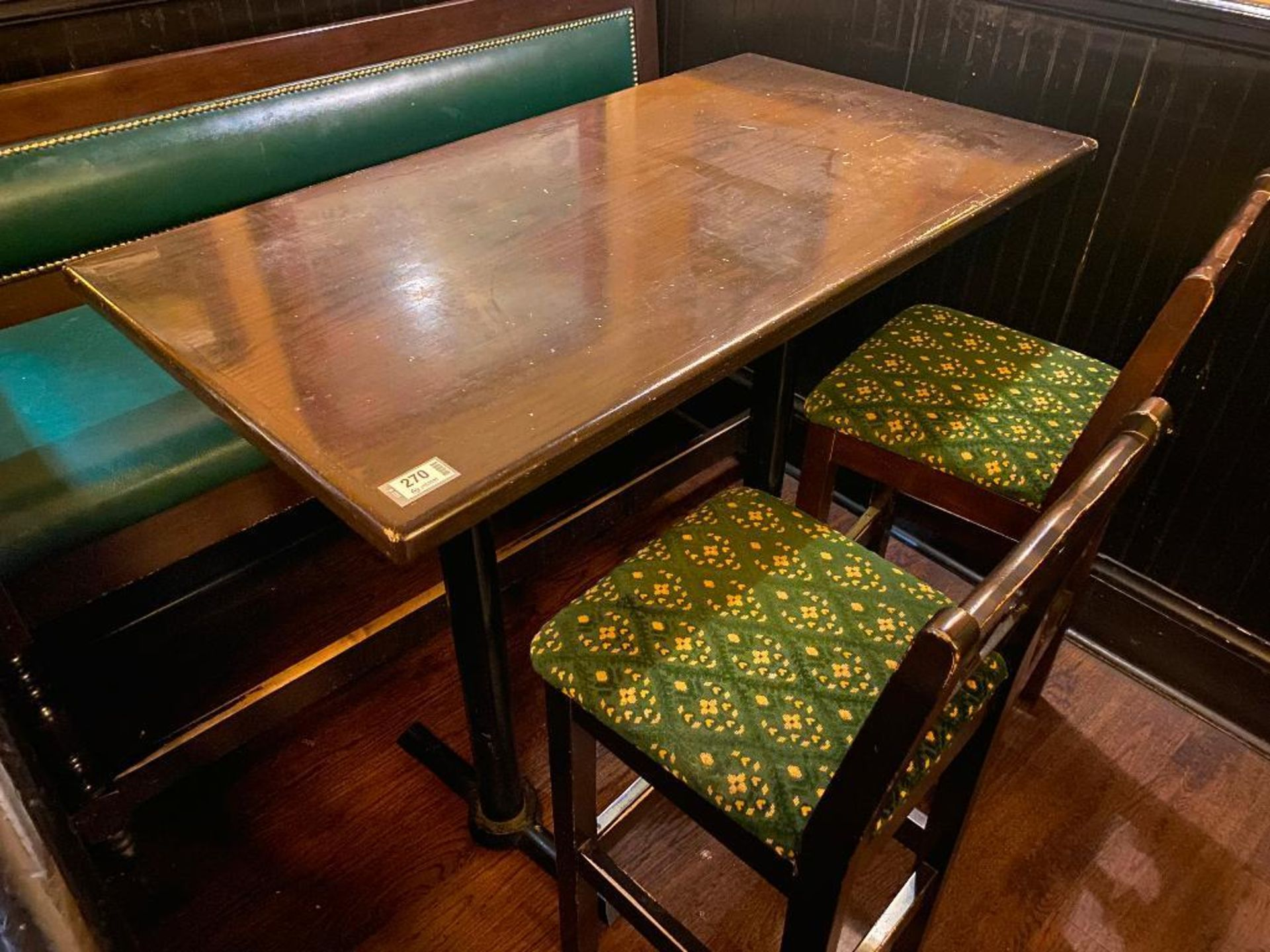 "RECTANGULAR BAR HEIGHT TABLE WITH 2 BAR HEIGHT CHAIRS & (1) 66"" GREEN BAR HEIGHT BENCH - Image 3 of 5"