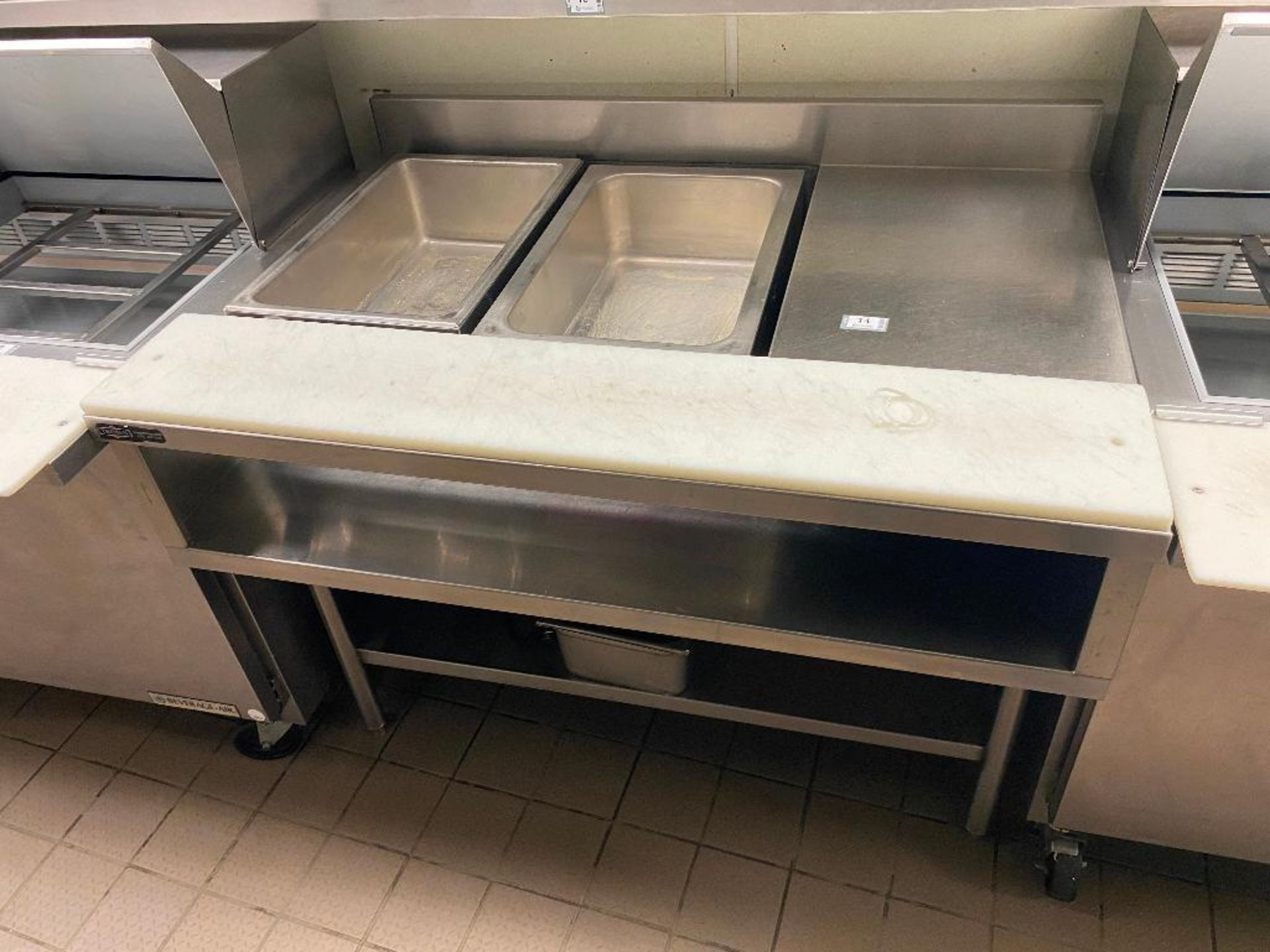 TRIMEN CUSTOM STAINLESS STEEL TABLE WITH 2 FULL SIZE FOOD WARMERS - Image 2 of 6
