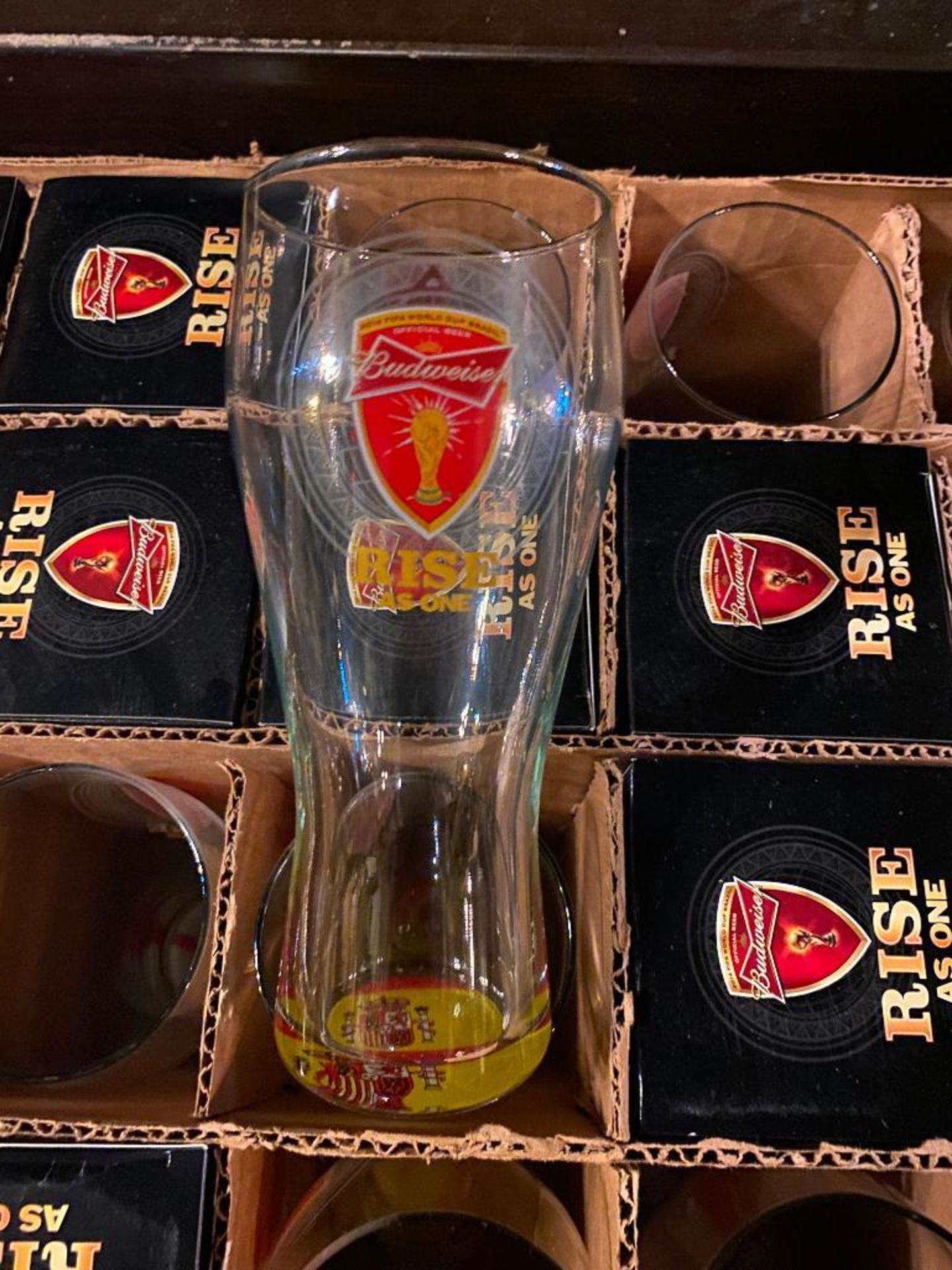 "BOX OF BUDWEISER ""RISE AS ONE"" COLLECTOR GLASSES - Image 2 of 2"