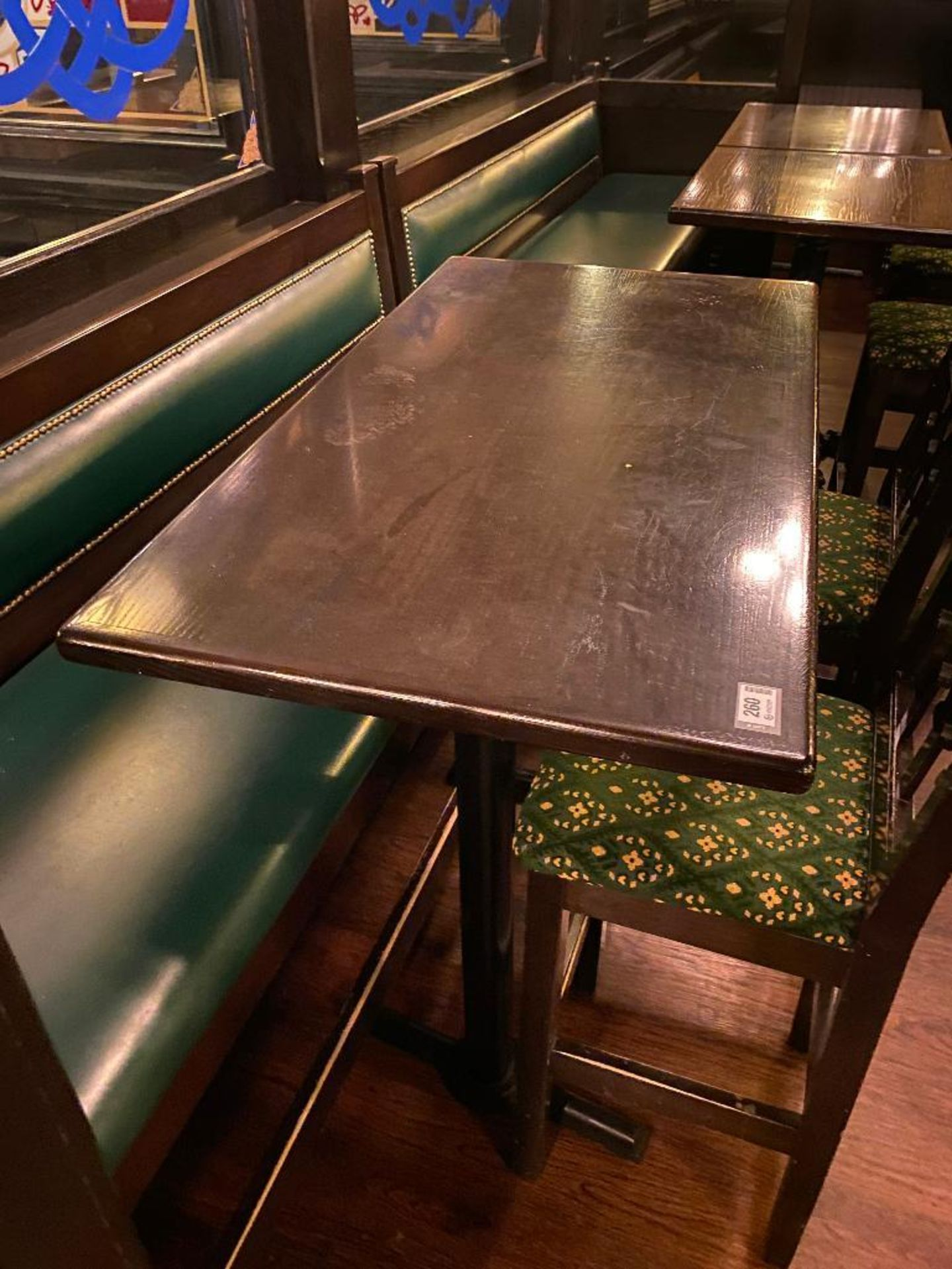 """RECTANGULAR BAR HEIGHT TABLE WITH 2 BAR HEIGHT CHAIRS & (1) 75"""" GREEN BAR HEIGHT BENCH - Image 4 of 5"""