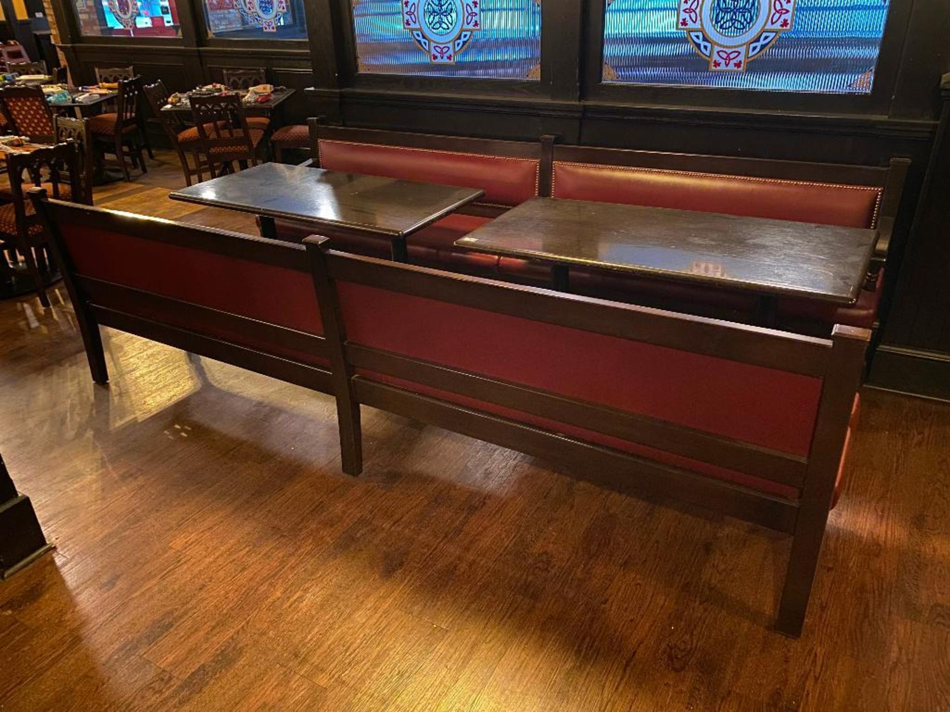 LOT OF (2) RECTANGULAR TABLE WITH (2) 10' BURGUNDY BENCHES - Image 4 of 4
