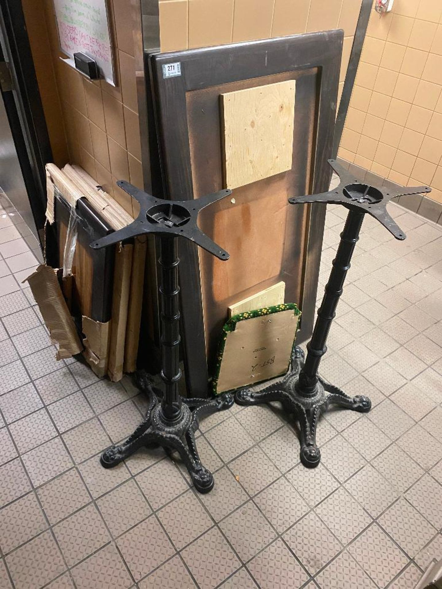 LOT OF EXTRA TABLE TOPS & BASES