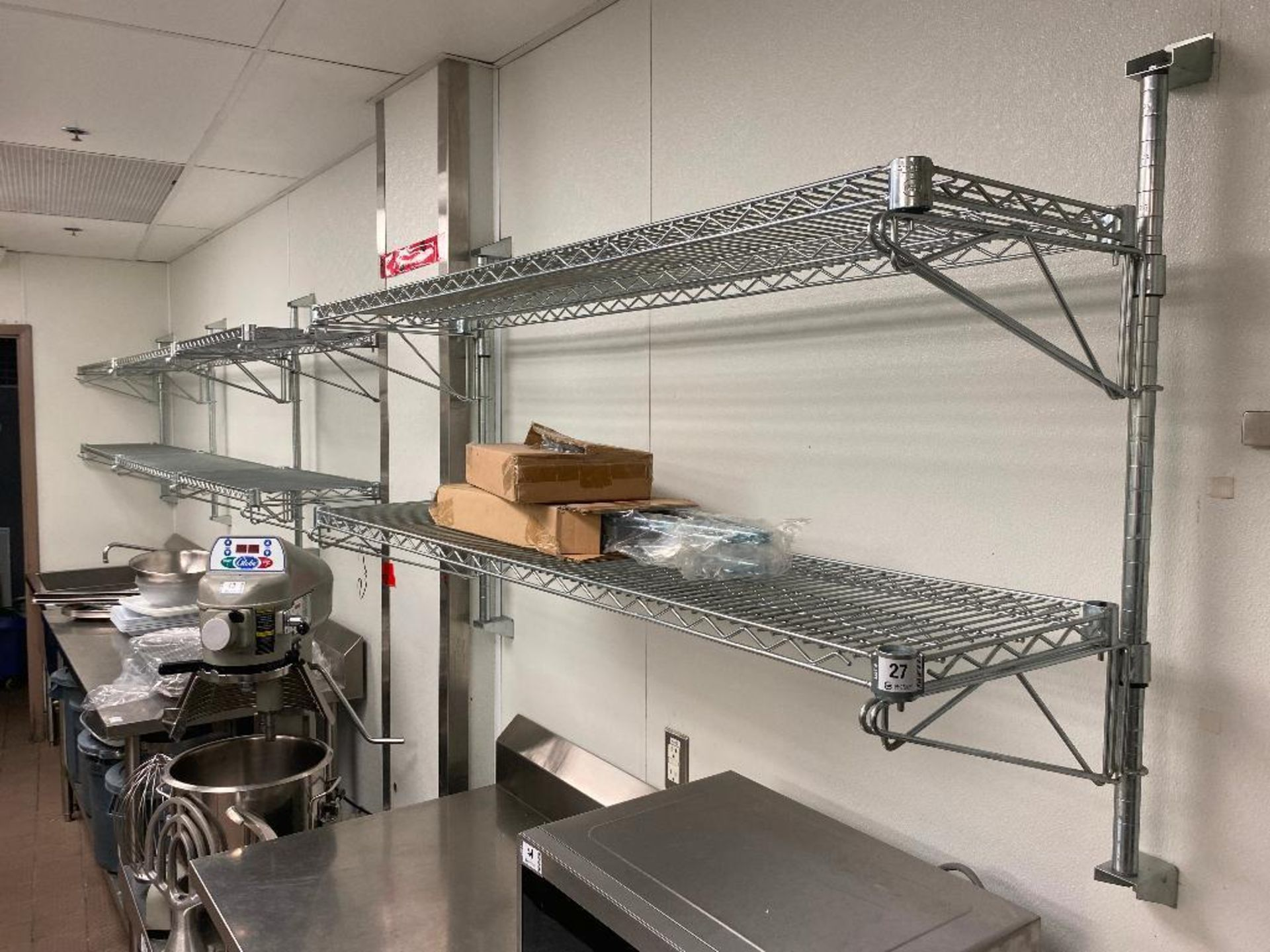 (8) CHROME WIRE WALL MOUNTED SHELVES, ASSORTED SIZES - NOTE: REQUIRES REMOVAL FROM WALL, PLEASE INSP