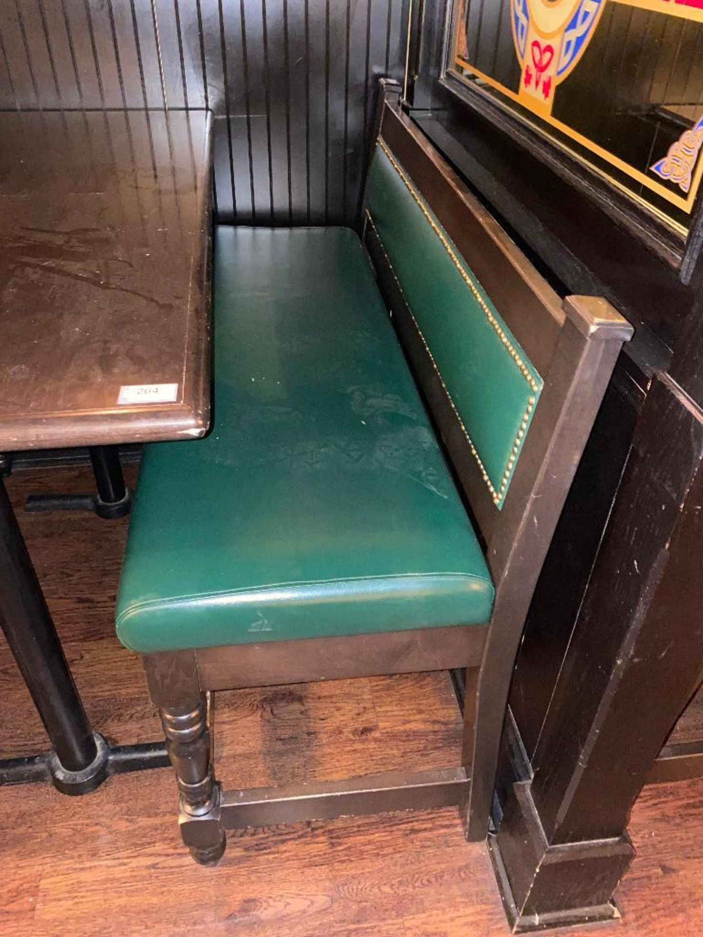 """RECTANGULAR BAR HEIGHT TABLE WITH (2) 54"""" GREEN BAR HEIGHT BENCHES - Image 2 of 4"""