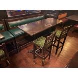 """LOT OF (2) BAR HEIGHT TABLE WITH 2 BAR HEIGHT CHAIRS & (1) 75"""" GREEN BAR HEIGHT BENCH"""