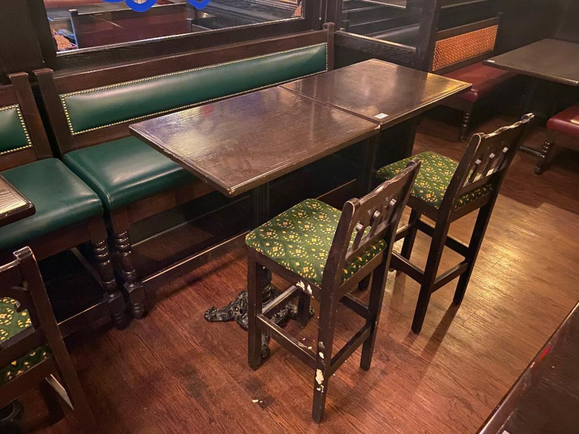 "LOT OF (2) BAR HEIGHT TABLE WITH 2 BAR HEIGHT CHAIRS & (1) 75"" GREEN BAR HEIGHT BENCH"