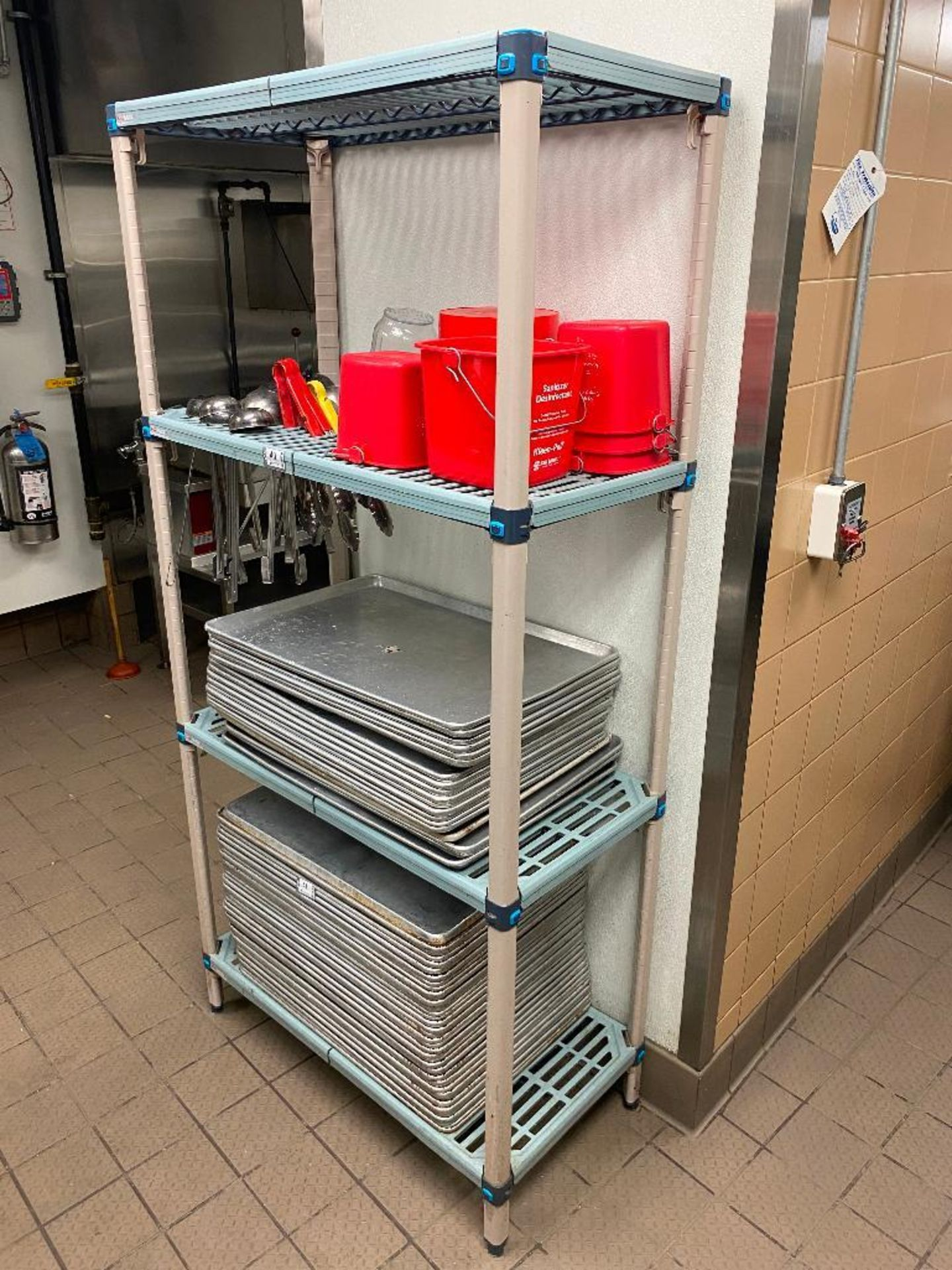 METRO MAX PLASTIC STORAGE RACK WITH STAINLESS STEEL LADLES AND RED WASH BUCKETS - Image 2 of 3