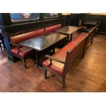 LOT OF (2) RECTANGULAR TABLE WITH (2) 10' BURGUNDY BENCHES