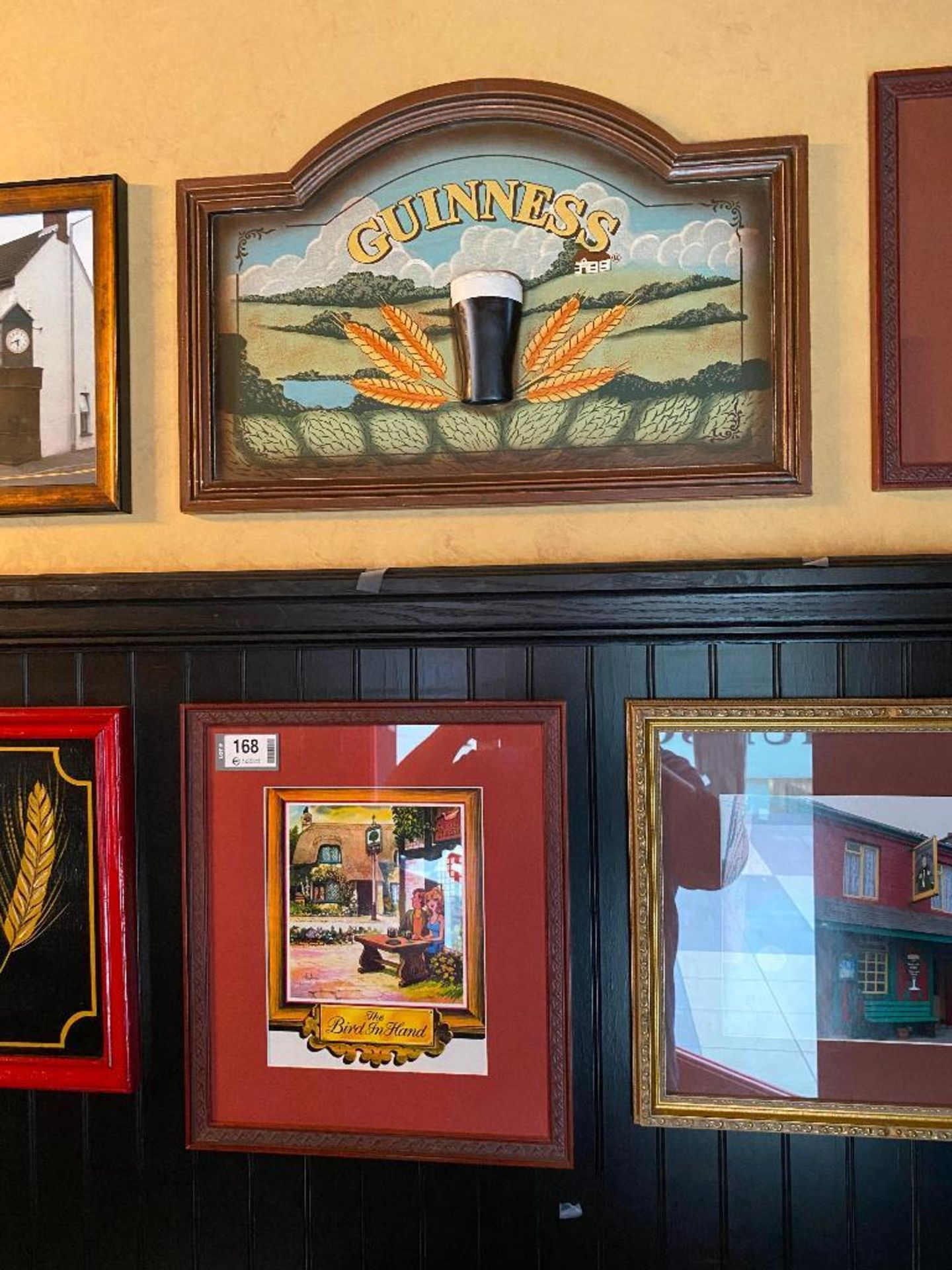 LOT OF (7) FRAMED MEMORABILIA PHOTOS & (2) WOODEN GUINNESS PLAQUES - NOTE REQUIRES REMOVAL FROM WALL - Image 4 of 5