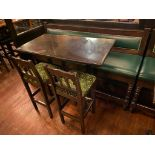 "RECTANGULAR BAR HEIGHT TABLE WITH 2 BAR HEIGHT CHAIRS & (1) 75"" GREEN BAR HEIGHT BENCH"