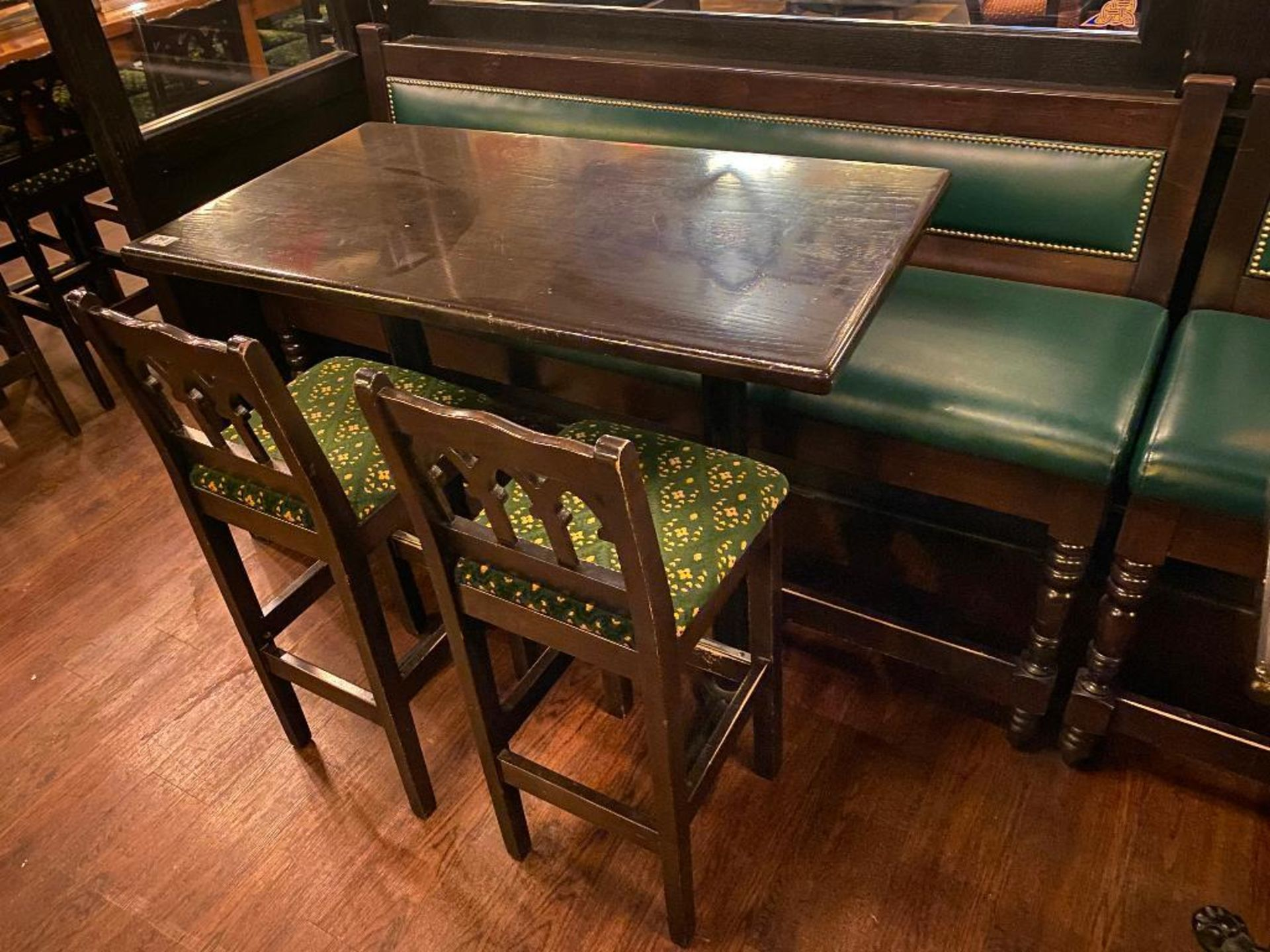 """RECTANGULAR BAR HEIGHT TABLE WITH 2 BAR HEIGHT CHAIRS & (1) 75"""" GREEN BAR HEIGHT BENCH"""