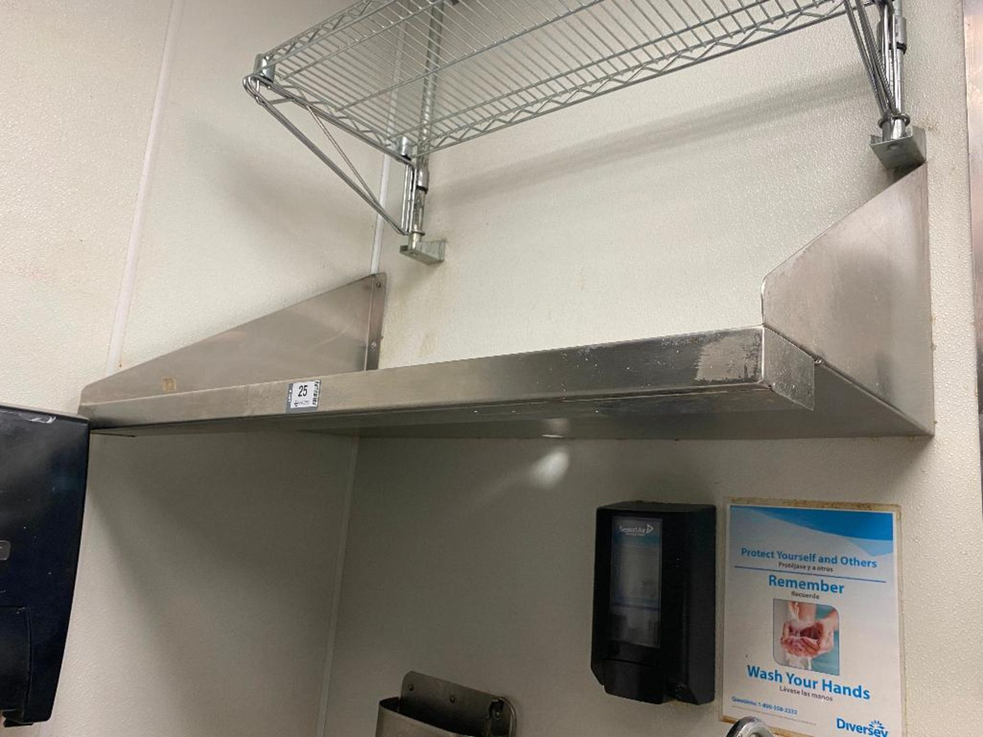 """42"""" X 22"""" STAINLESS STEEL WALL SHELF & 35"""" X 15"""" CHROME WIRE SHELF - NOTE: REQUIRES REMOVAL FROM WAL - Image 5 of 5"""