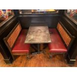"""RECTANGULAR TABLE WITH (2) 54"""" BURGUNDY BENCHES"""