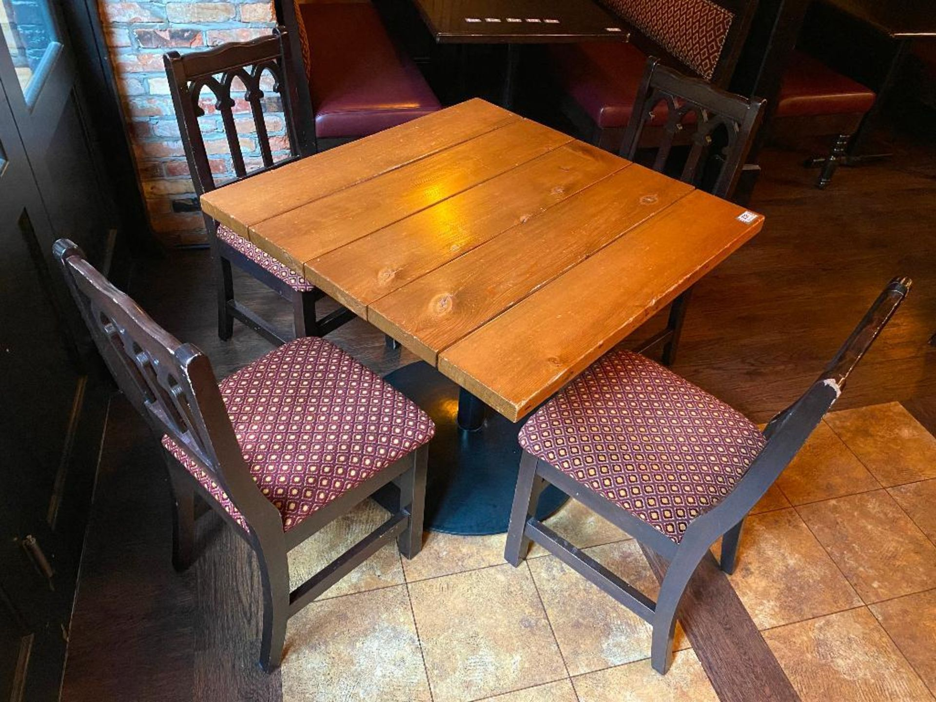 "36"" X 36"" SQUARE WOOD TOP TABLE WITH 4 CHAIRS - Image 2 of 2"