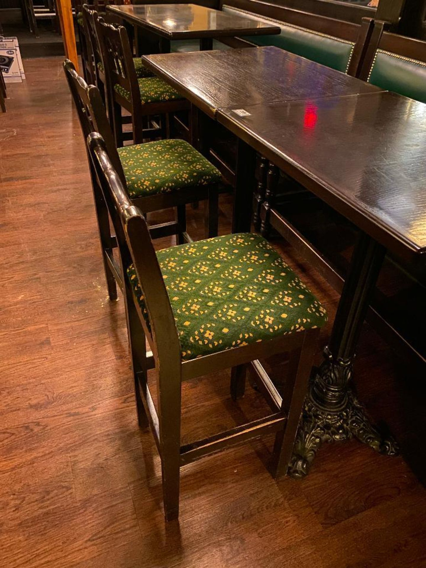 "LOT OF (2) BAR HEIGHT TABLE WITH 2 BAR HEIGHT CHAIRS & (1) 75"" GREEN BAR HEIGHT BENCH - Image 2 of 4"