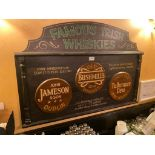FAMOUS IRISH WHISKIES WOODEN PLAQUE - NOTE: REQUIRES REMOVAL FROM WALL, PLEASE INSPECT