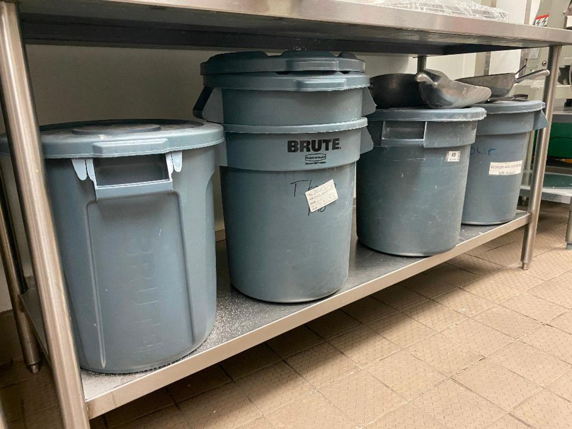 LOT OF (5) RUBBERMAID BRUTE 10 GALLON BIN & (4) ASSORTED SIZE FLOUR SCOOPS - Image 2 of 2