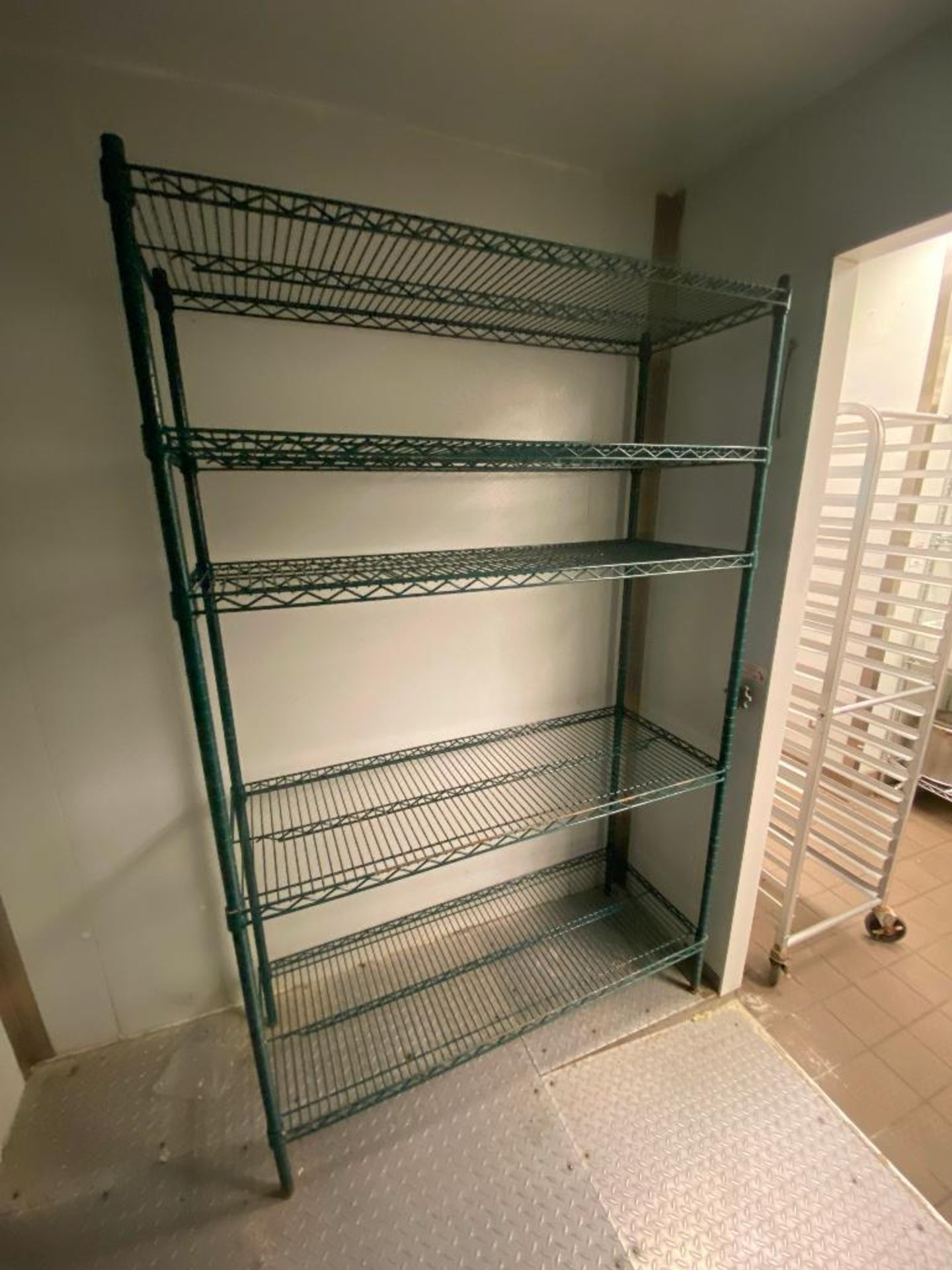 LOT OF (4) GREEN WIRE STORAGE RACKS, ASSORTED SIZES - Image 4 of 4