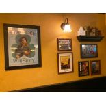 LOT OF (6) FRAMED MEMORABILIA PHOTOS & WALL SHELF WITH DECORATIVE ITEMS - NOTE: REQUIRES REMOVAL FRO
