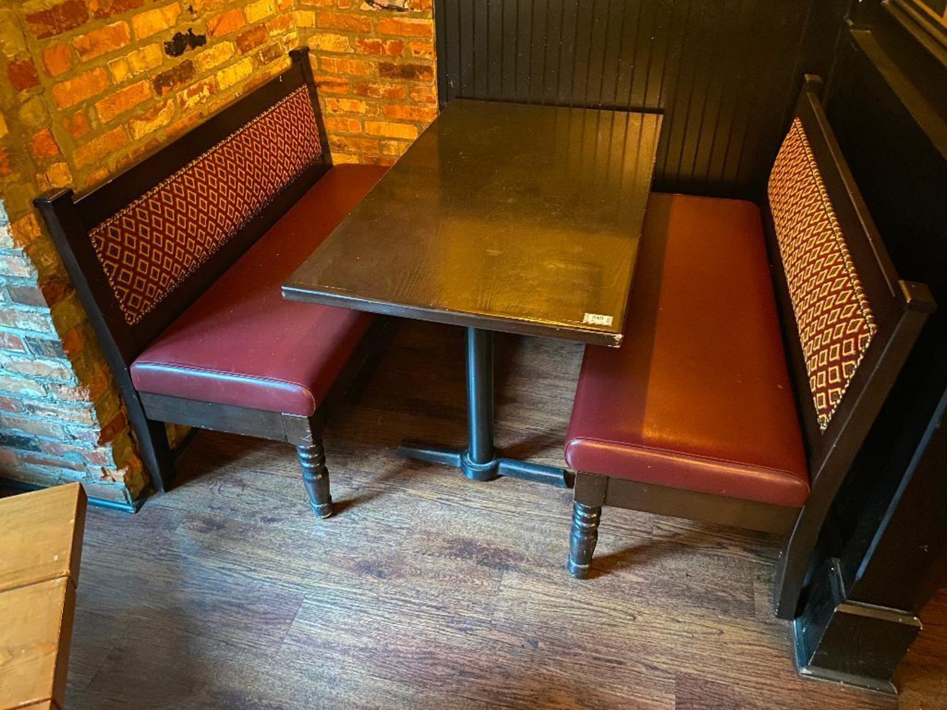 """RECTANGULAR TABLE WITH (2) 54"""" BURGUNDY BENCHES - Image 5 of 5"""