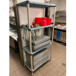 METRO MAX PLASTIC STORAGE RACK WITH STAINLESS STEEL LADLES AND RED WASH BUCKETS