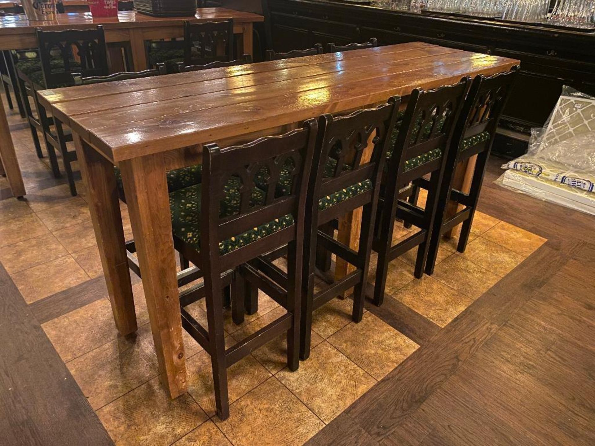 7' WOOD BAR HEIGHT TABLE WITH 8 BAR HEIGHT CHAIRS - Image 2 of 3