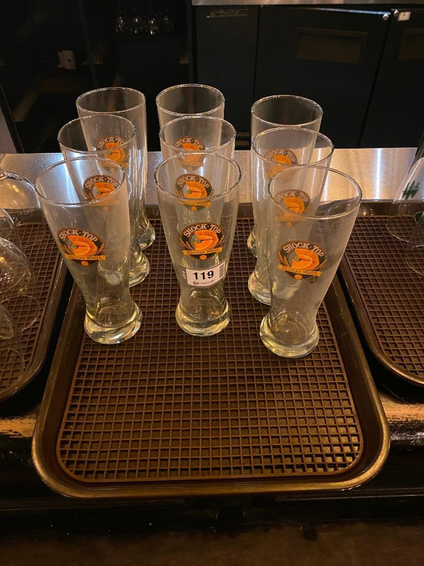 LOT OF (9) SHOCK TOP GLASSES