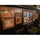 LOT OF (6) FRAMED MEMORABILIA PHOTOS & (1) METAL GUINNESS ADVERTISING SIGN - NOTE: REQUIRES REMOVAL