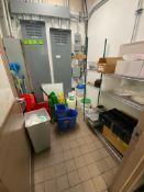 CONTENTS OF STORAGE ROOM INCLUDING: 3 TIER WIRE STORAGE RACK, (3) MOP BUCKETS, (2) ANTI FATIGUE MATS