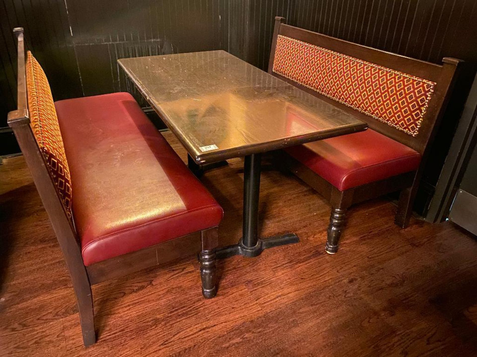 "RECTANGULAR TABLE WITH (2) 54"" BURGUNDY BENCHES"