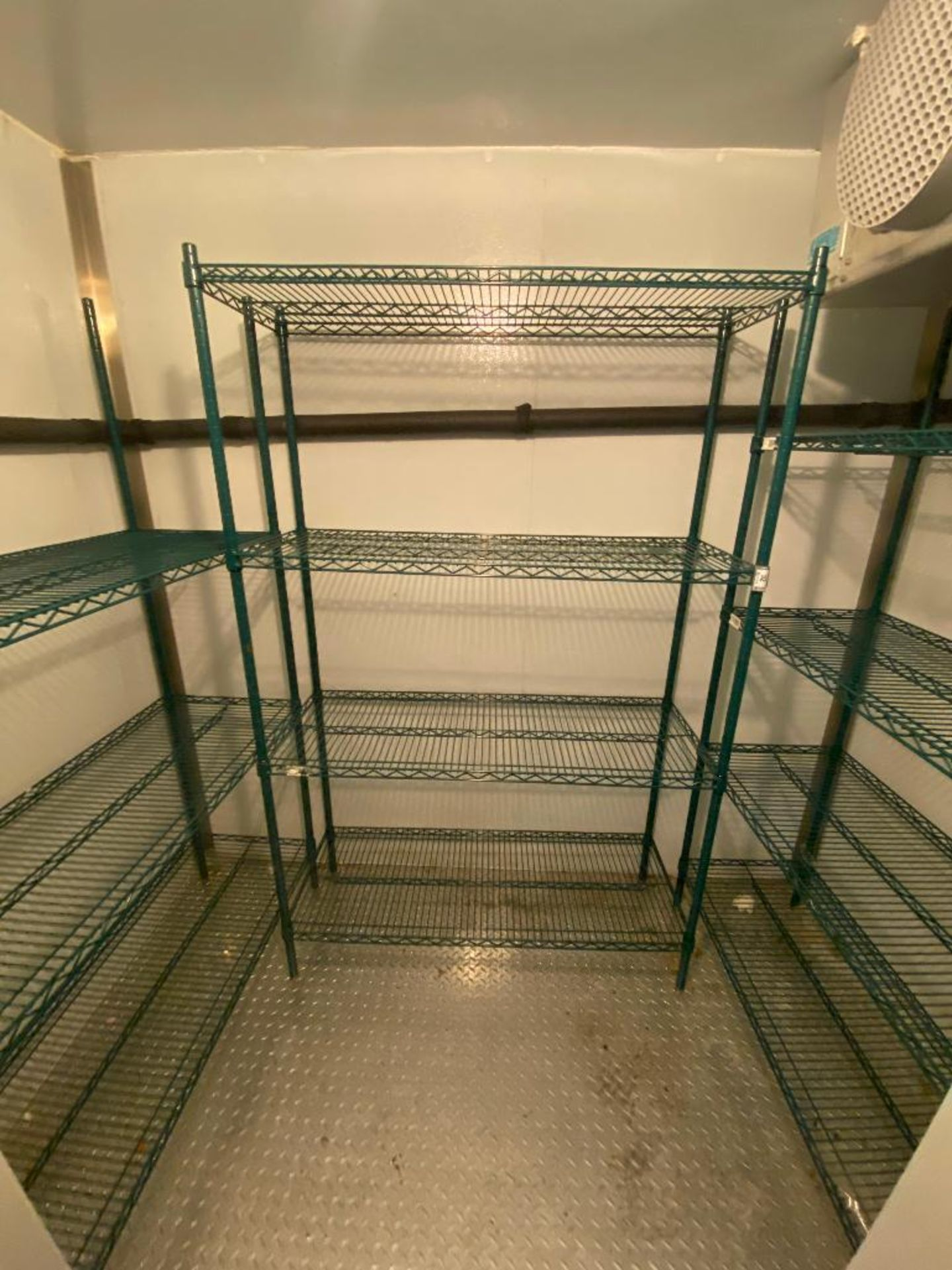 LOT OF (3) GREEN WIRE STORAGE RACKS, ASSORTED SIZES - Image 3 of 4